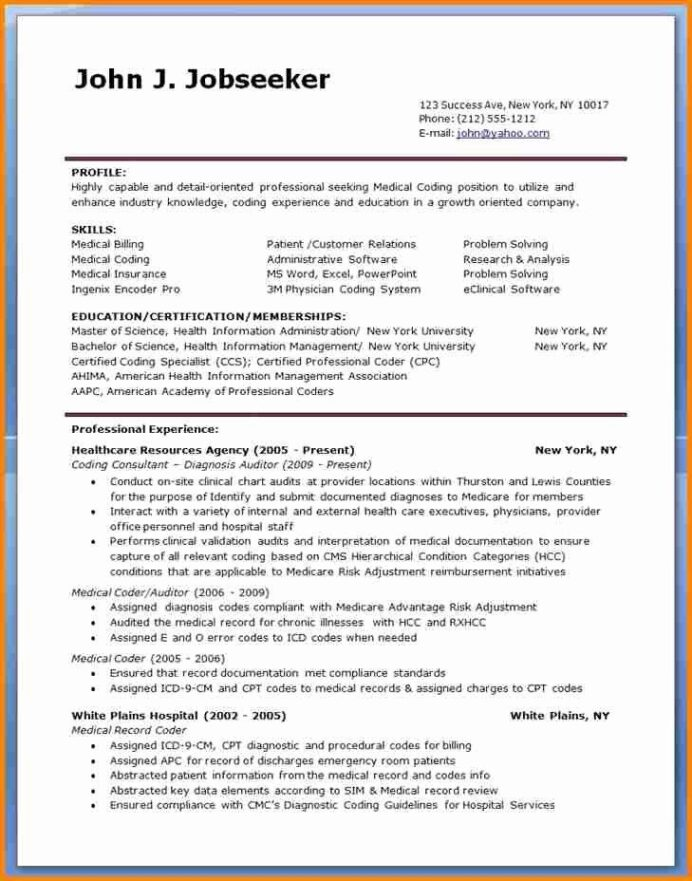 billing and coding resume new sample for medical specialist jobs objective statement Resume Sample Resume For Medical Billing And Coding