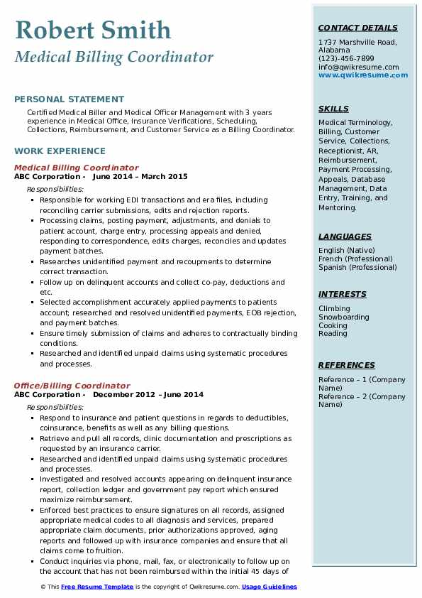 billing coordinator resume samples qwikresume skills pdf attorney title for experienced Resume Billing Coordinator Skills Resume