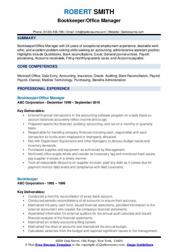 bookkeeper resume samples qwikresume sample pdf education template chef experience cover Resume Bookkeeper Resume Sample Pdf