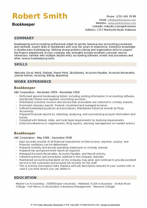 bookkeeper resume samples qwikresume sample pdf good and cover letter examples chef Resume Bookkeeper Resume Sample Pdf