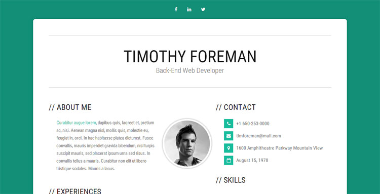 bootstrap resume cv templates of designerslib free template simpleness create from Resume Bootstrap Free Resume Template