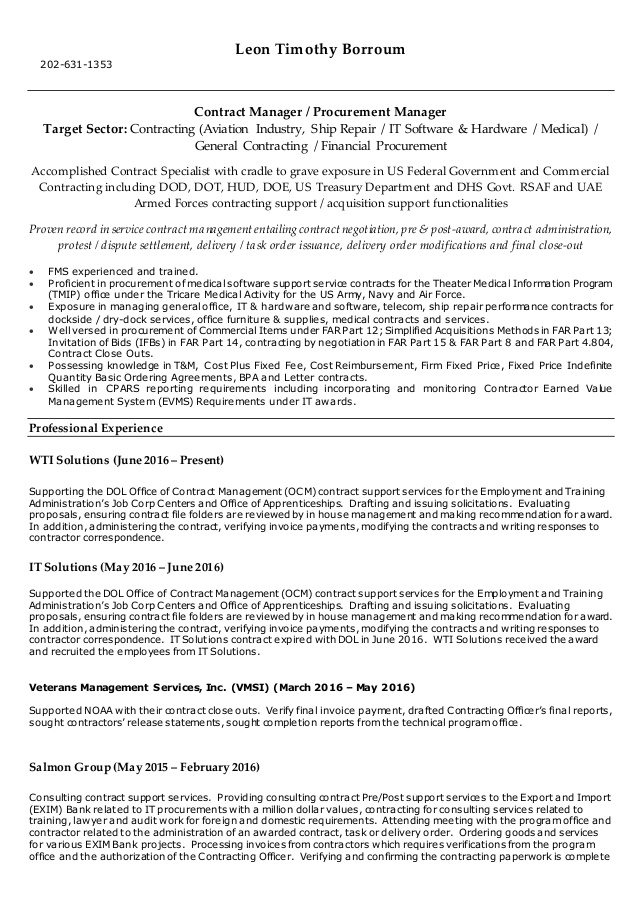 borroum resume government contracting officer leonborroumresume adjectives for skills pca Resume Government Contracting Officer Resume