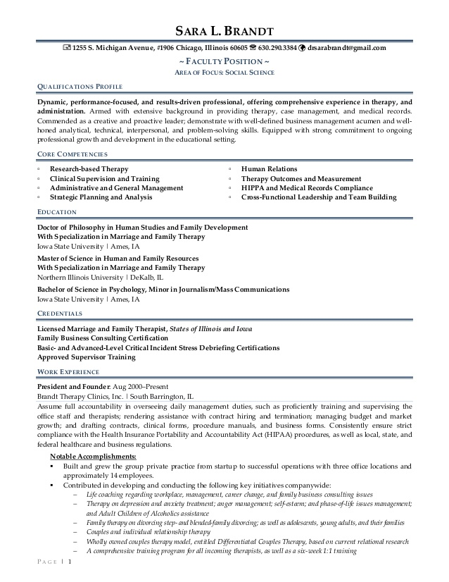brandt clinical resume marriage and family therapist help desk bullets free templates Resume Marriage And Family Therapist Resume