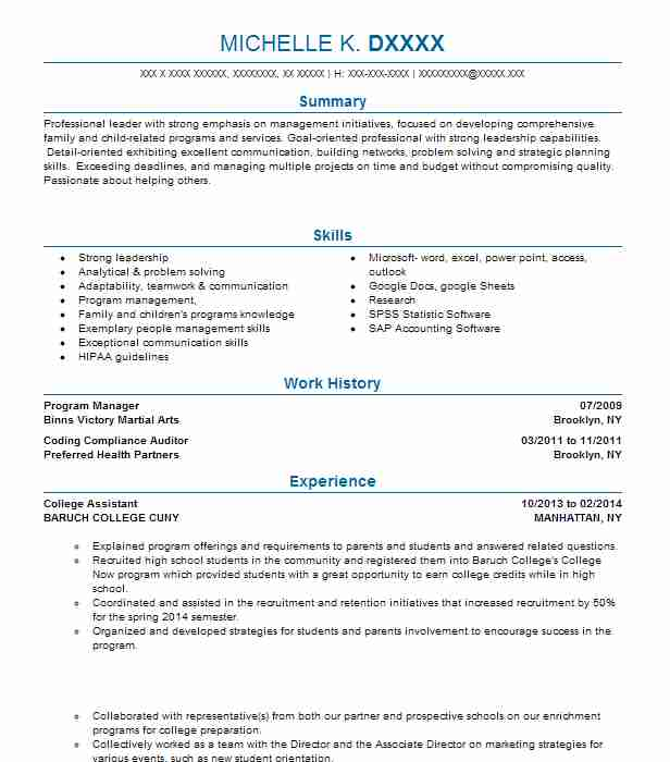bursar office college assistant resume example kingsborough community cuny brooklyn new Resume Baruch College Resume Template