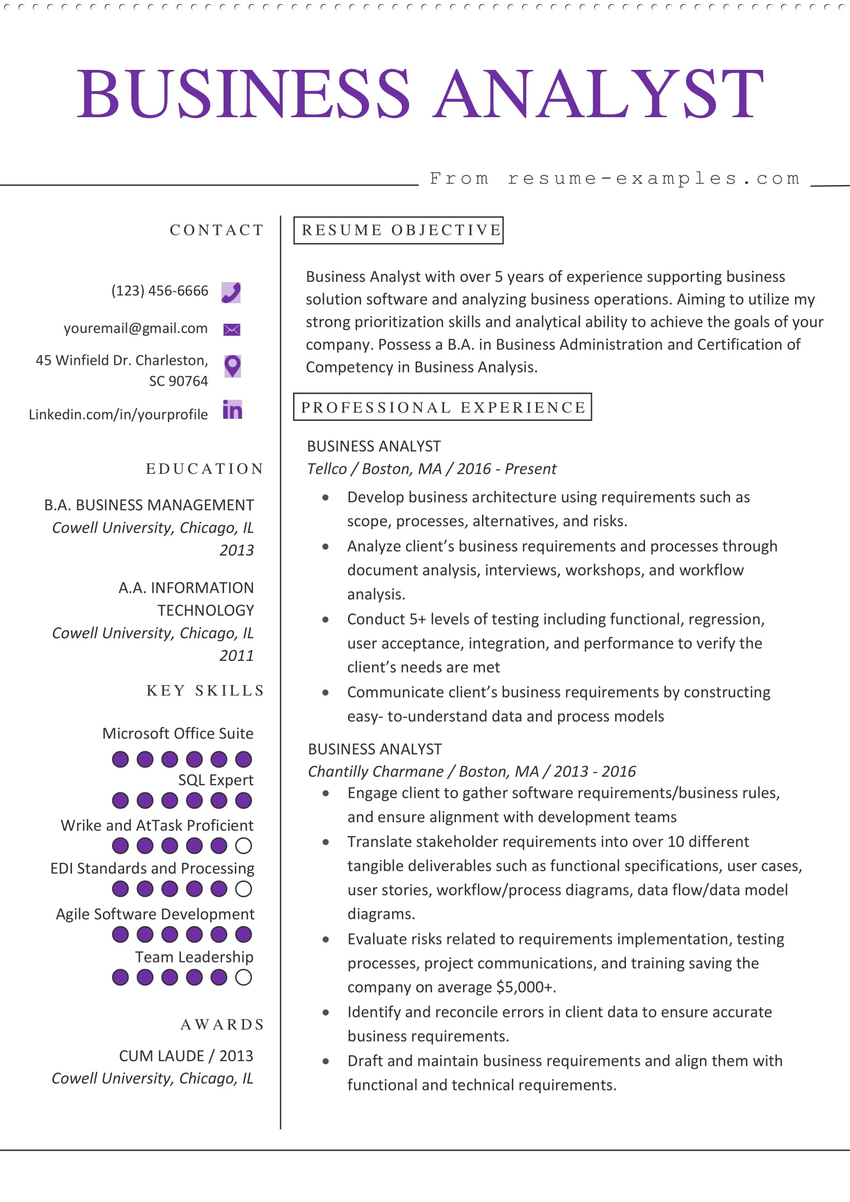 business analyst resume example microsoft word format template construction field Resume Business Analyst Resume Template