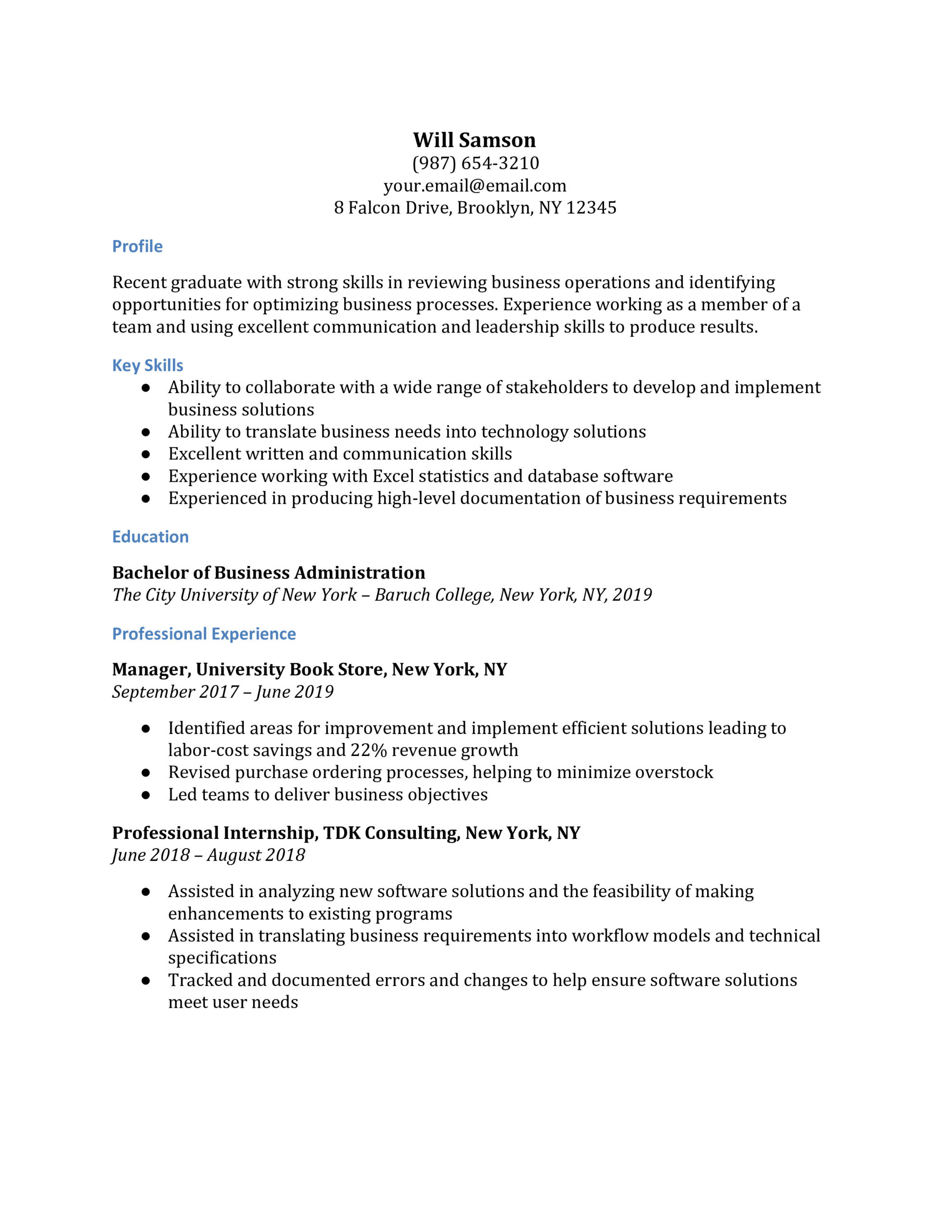 business analyst resume examples resumebuilder baruch college template facility executive Resume Baruch College Resume Template