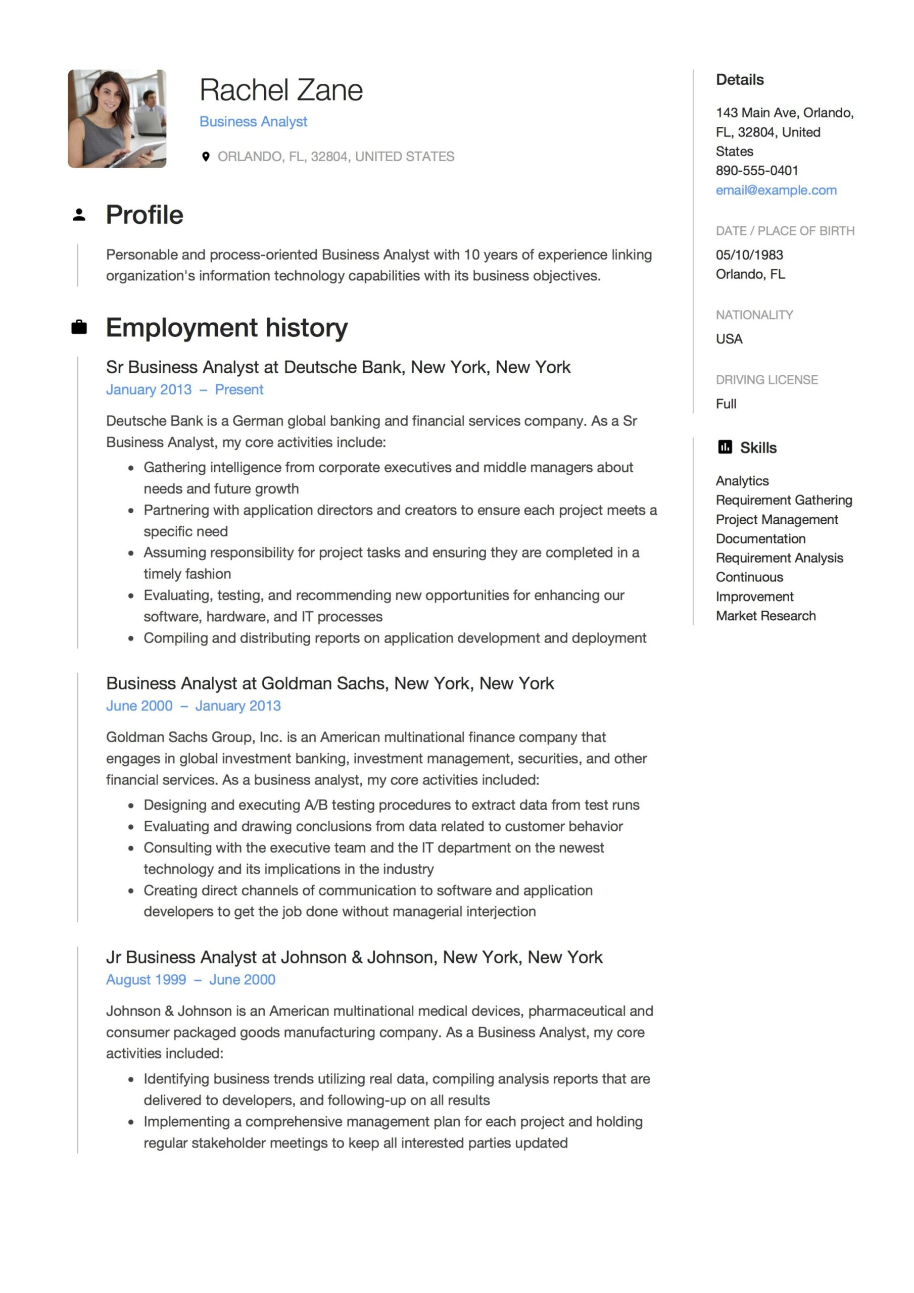 business analyst resume guide templates pdf free downloads template hospital clerk Resume Business Analyst Resume Template