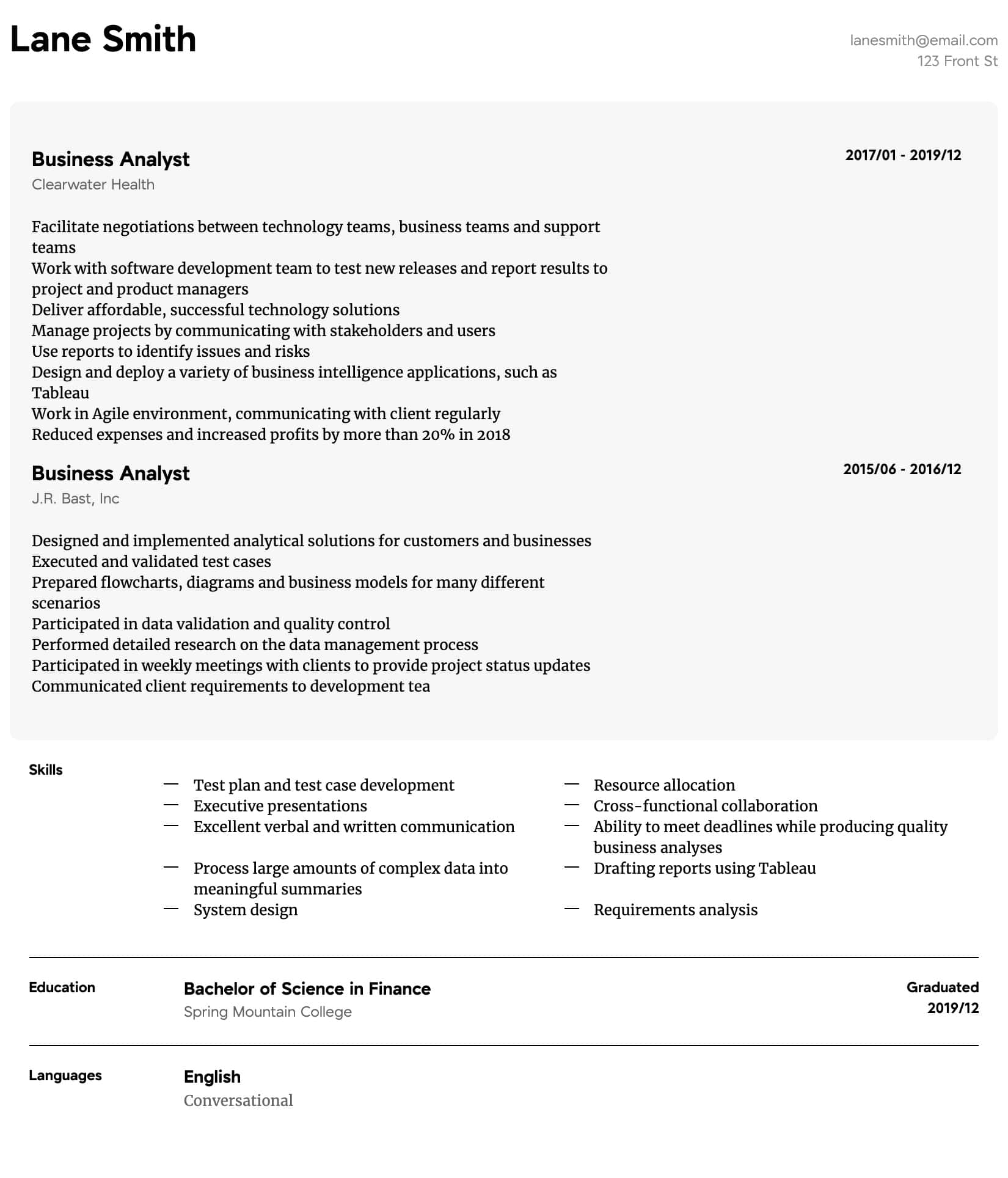 business analyst resume samples all experience levels builder intermediate general labor Resume Business Analyst Resume Builder