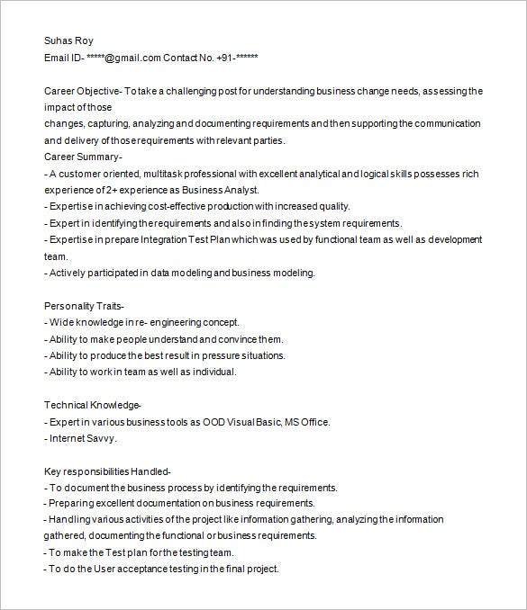 business analyst resume template free samples examples format premium templates sample Resume Business Analyst Resume Template