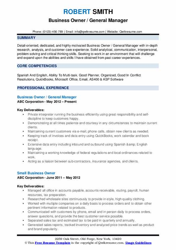 business owner resume samples qwikresume entrepreneur examples pdf high school sports Resume Entrepreneur Resume Examples