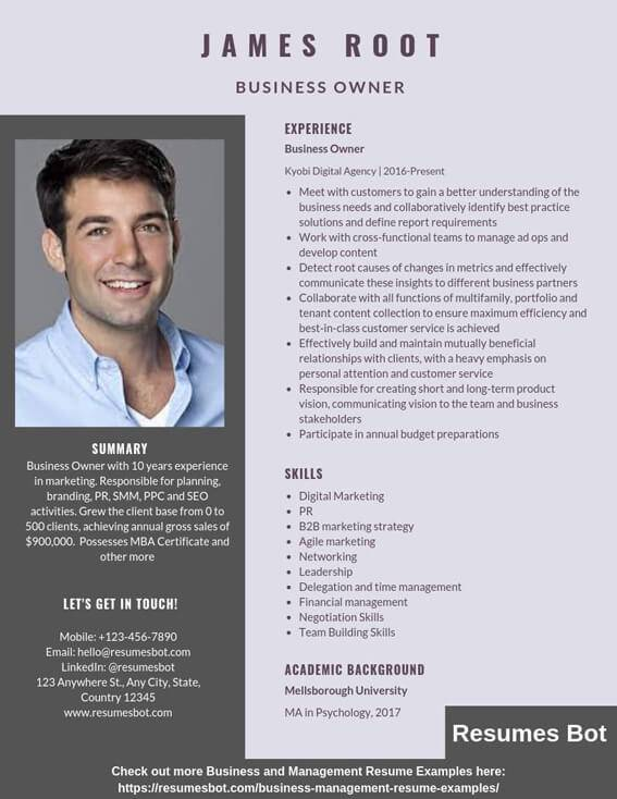 business owner resume samples templates pdf resumes bot sample format example good vs Resume Sample Business Resume Format