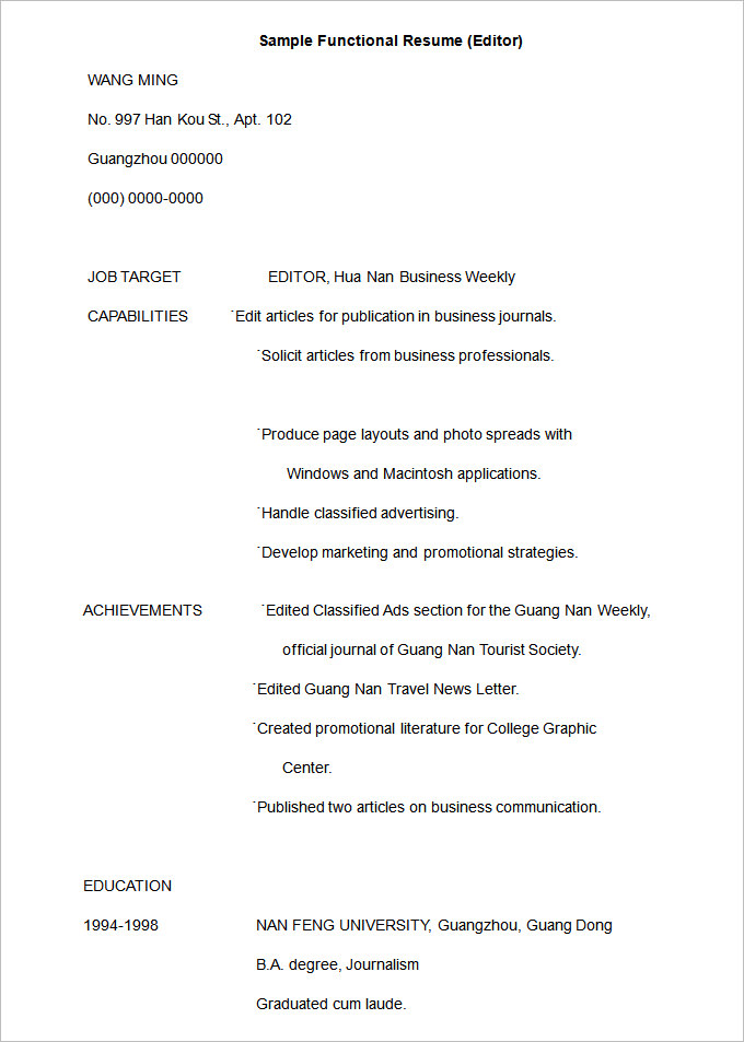 by free resume templates samples format sample functional template professional objective Resume Sample Functional Resume Template