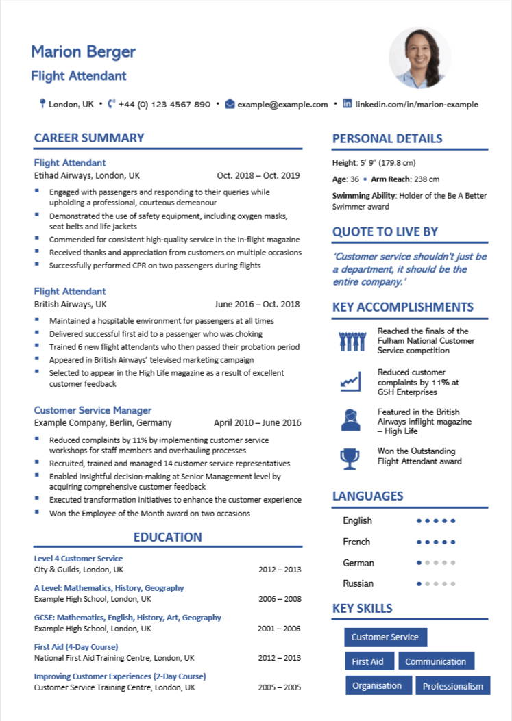 cabin crew cv examples writing guide flight attendants nation entry level aviation resume Resume Entry Level Aviation Resume