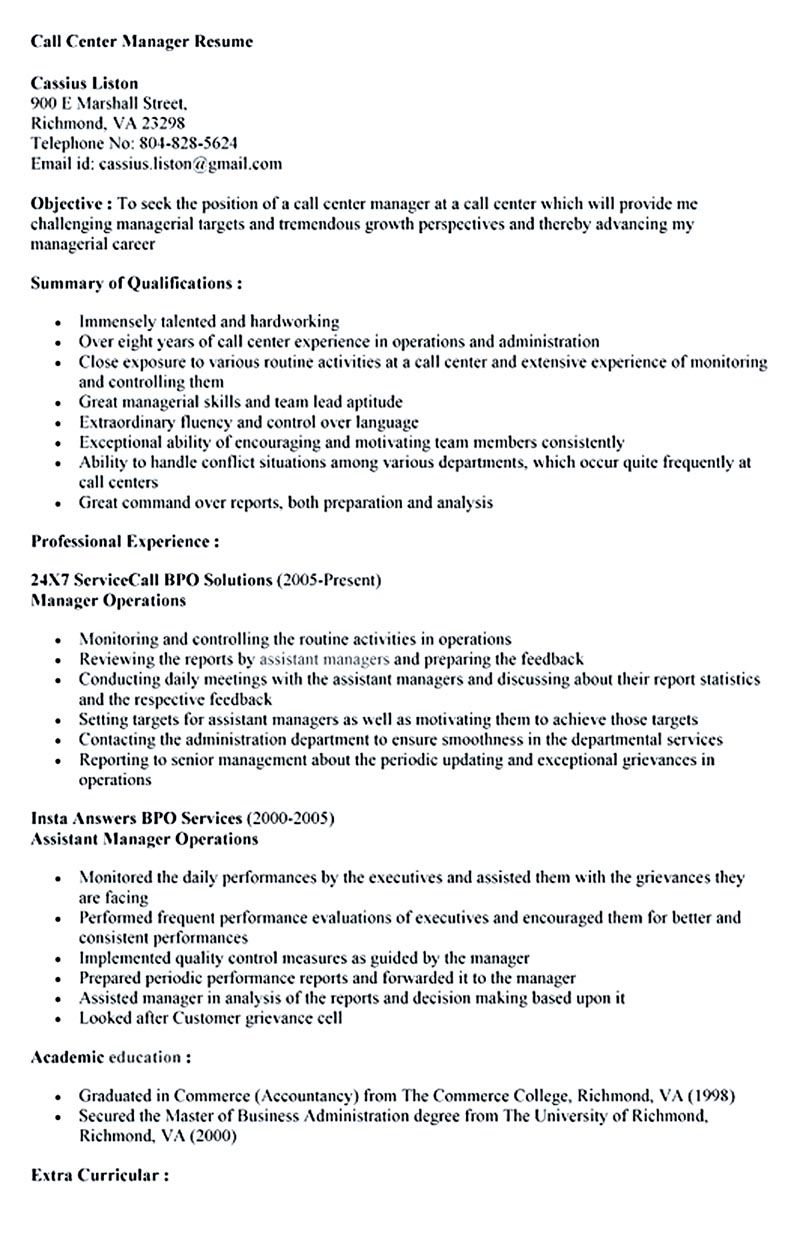 call center resume for professional with relevant experience needed is provided here well Resume Call Center Resume Objective Examples