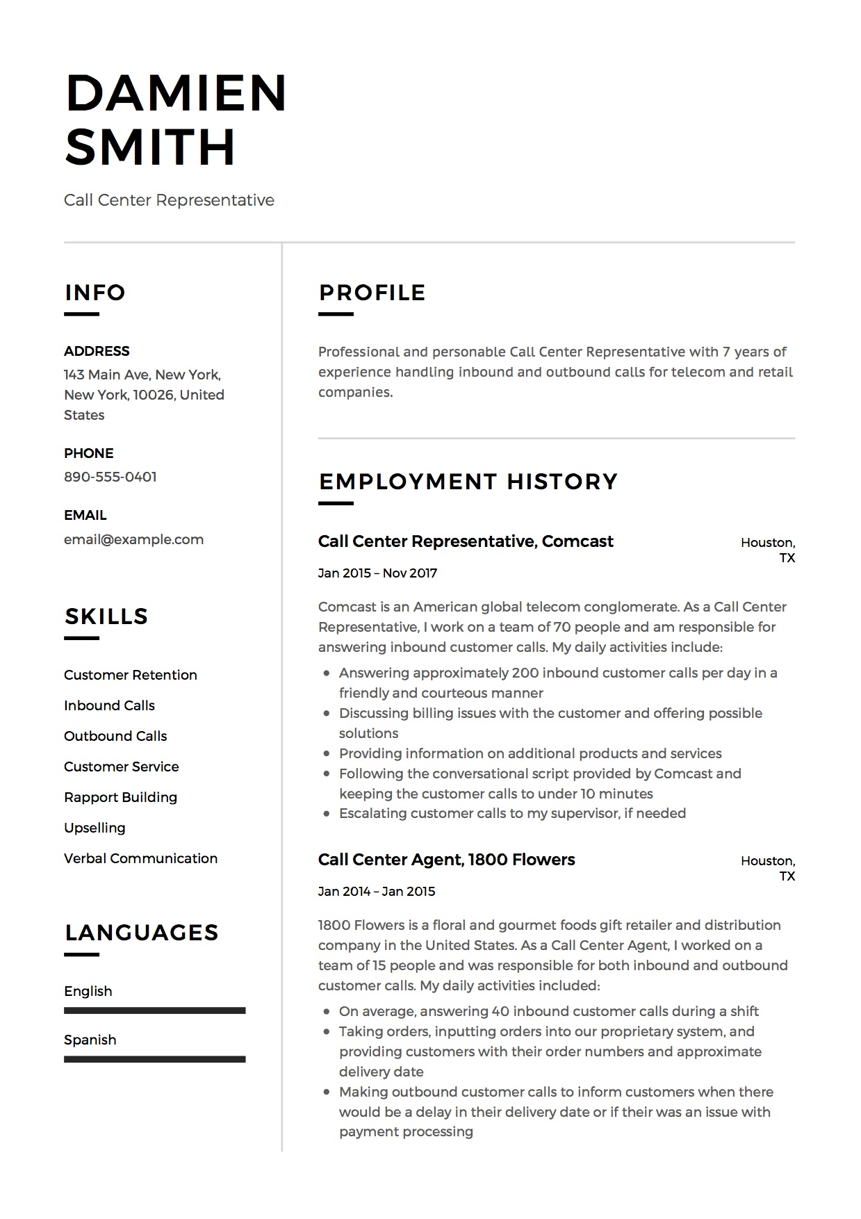 call center resume guide free downloads examples damien representative system analyst Resume Call Center Resume Examples