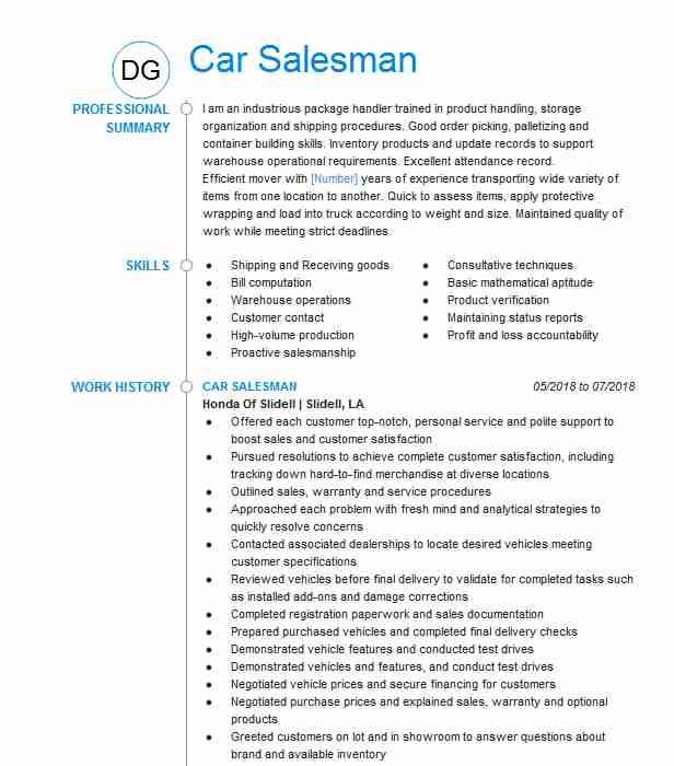 car salesman resume example resumes livecareer auto consultant packaging operator service Resume Auto Sales Consultant Resume