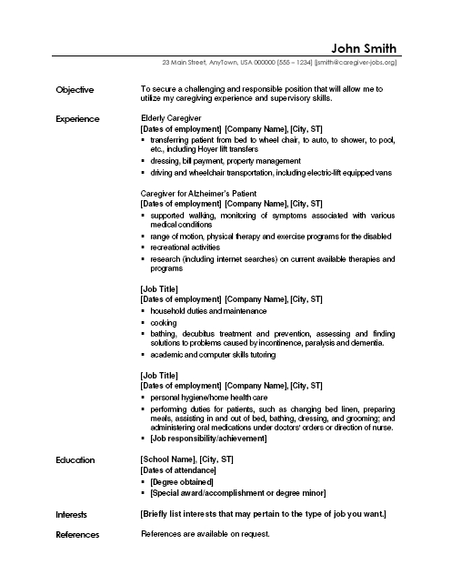 caregiver jobs example of resume samples job description for sample packaging examples Resume Caregiver Job Description For Resume