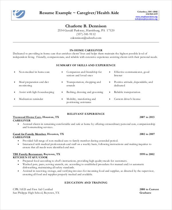 caregiver resume example free word pdf documents examples skills teacher in home model Resume In Home Caregiver Resume
