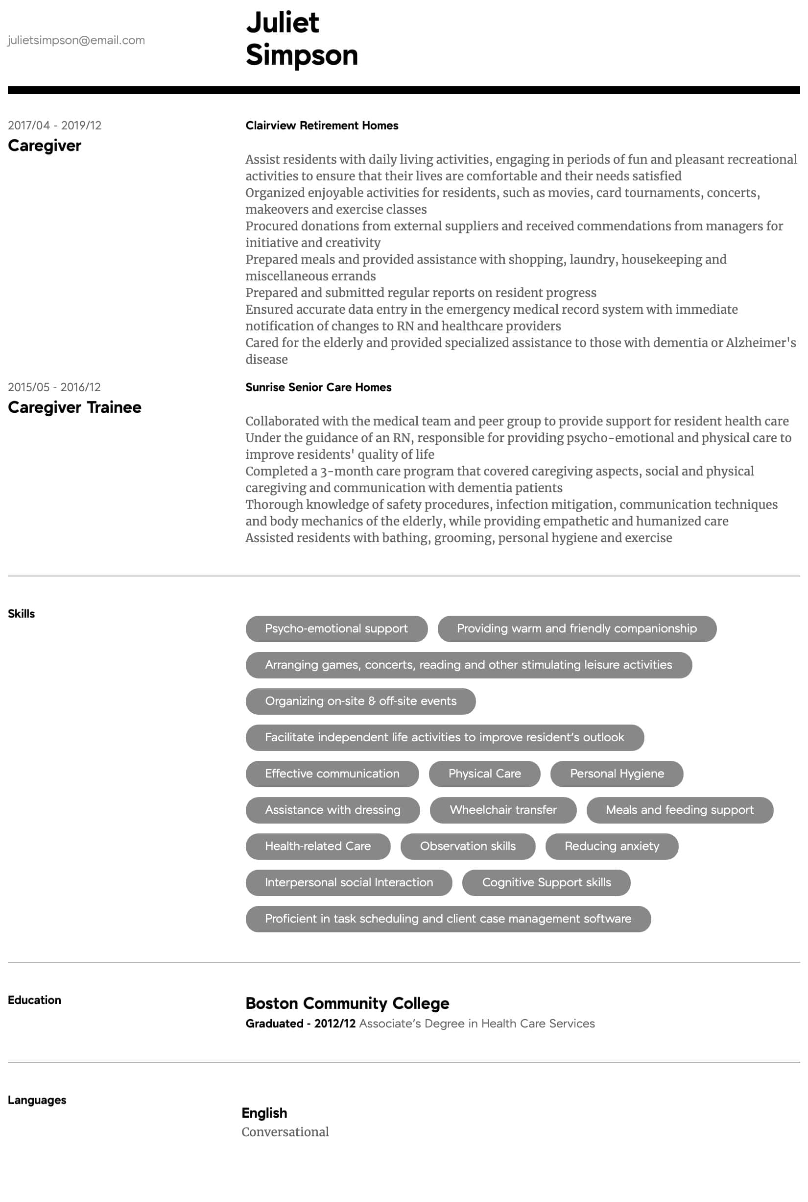 caregiver resume samples all experience levels duties and responsibilities intermediate Resume Caregiver Duties And Responsibilities Resume