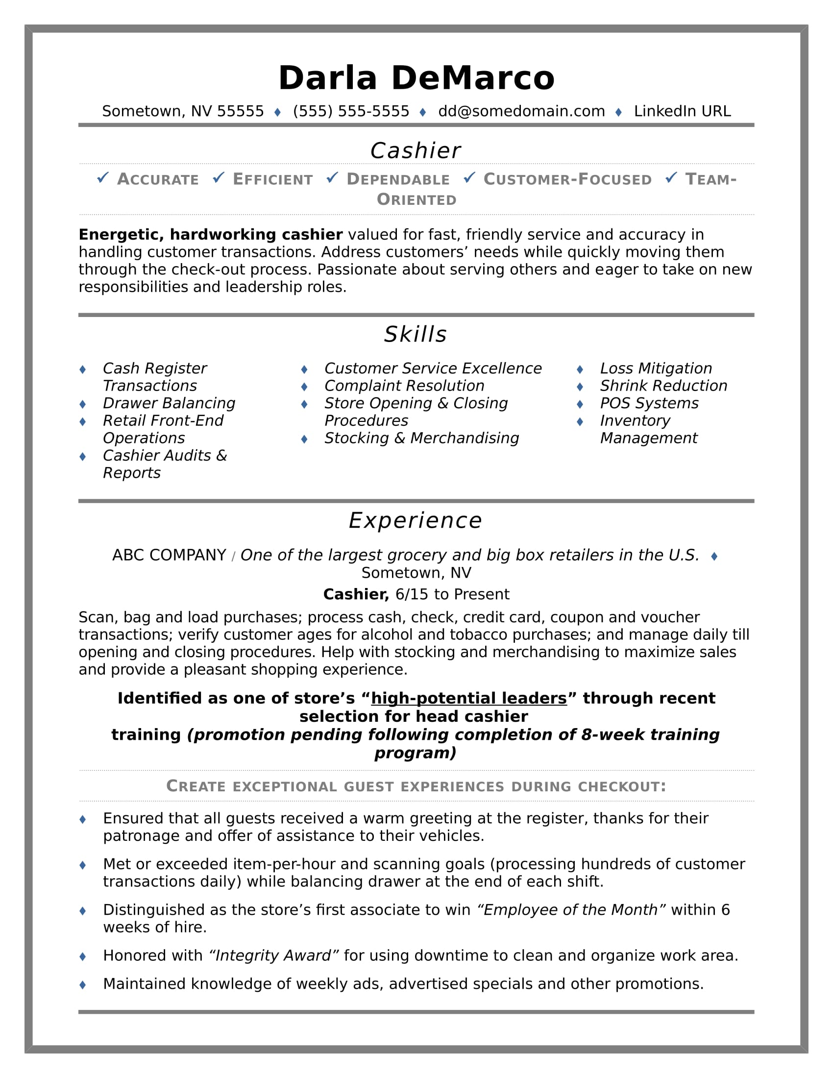 cashier resume sample monster experience professional examples summary example for an Resume Experience Professional Resume Examples
