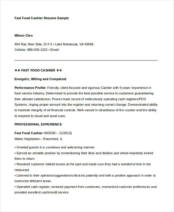 cashier resume templates pdf free premium duties for fast food well designed examples Resume Duties For Cashier Resume