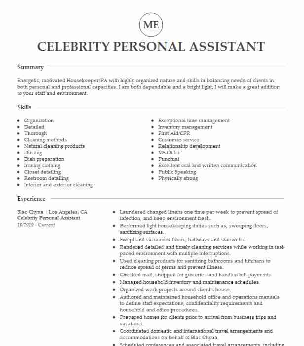 celebrity personal assistant resume example livecareer skills animal keeper physical Resume Personal Assistant Skills Resume