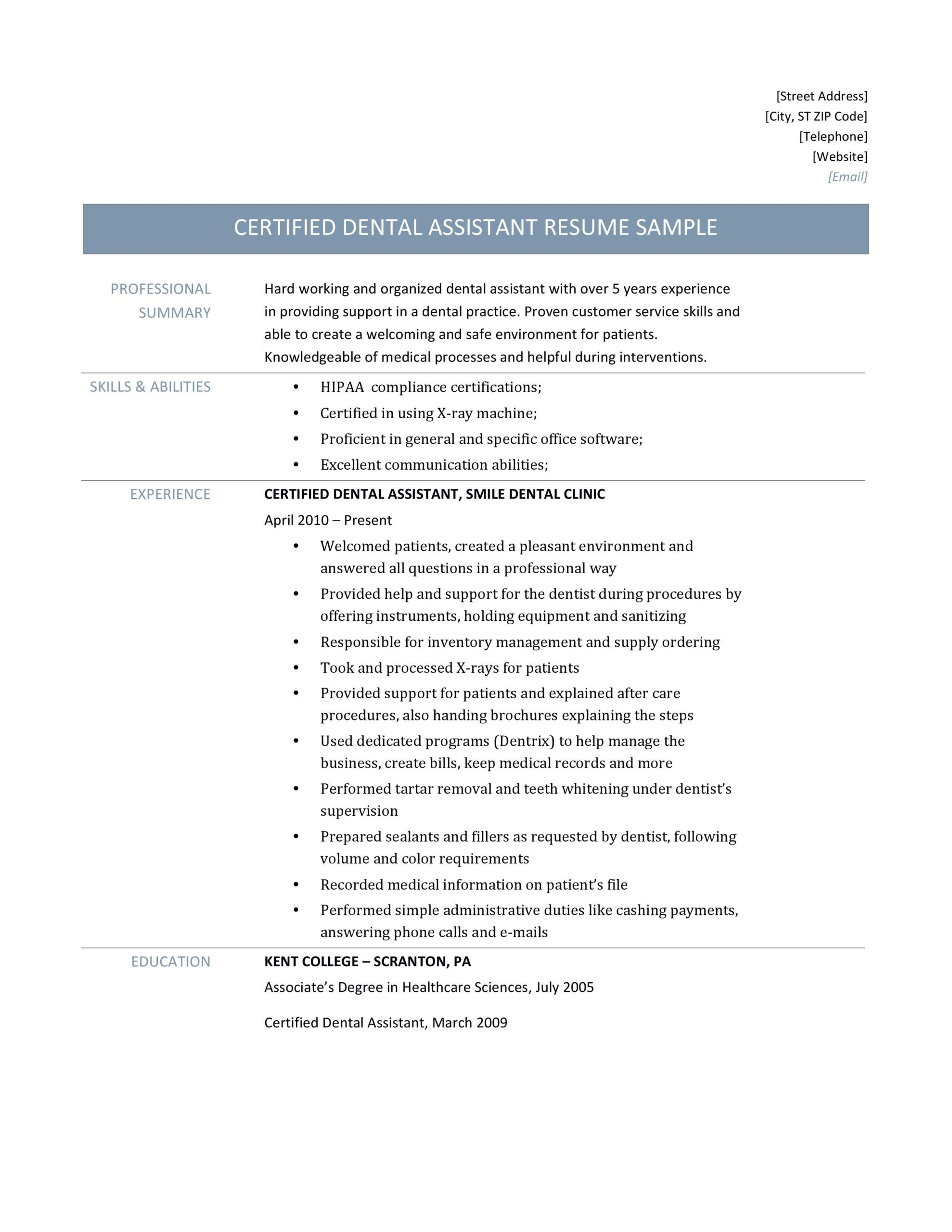 certified dental assistant by resume builders medium skills and abilities for Resume Skills And Abilities For Dental Assistant Resume