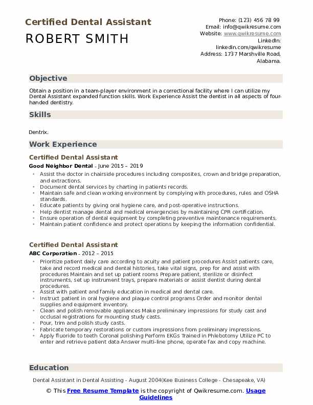 certified dental assistant resume samples qwikresume examples pdf various types of format Resume Dental Assistant Resume Examples