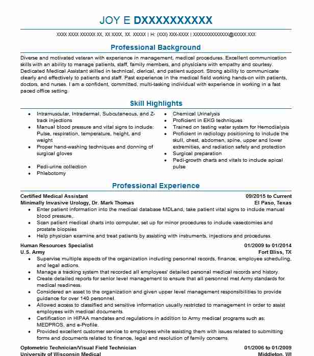 certified medical assistant resume example livecareer template tableau clean professional Resume Medical Assistant Resume Template