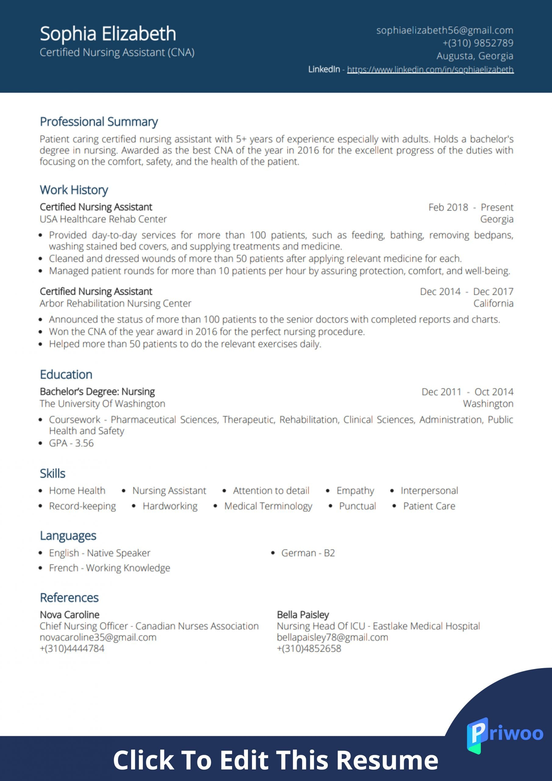 certified nursing assistant cna resume example priwoo for hospital scaled sample Resume Cna Resume For Hospital