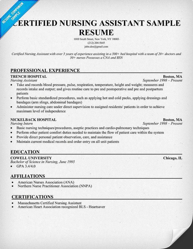 certified nursing assistant resume sample companion cover letter for examples cna Resume Cna Resume For Hospital