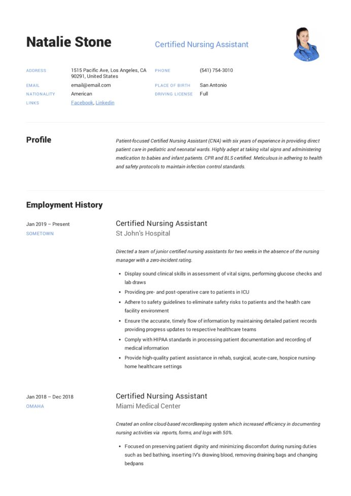 certified nursing assistant resume writing guide templates free for objective examples Resume Free Resume Templates For Certified Nursing Assistant
