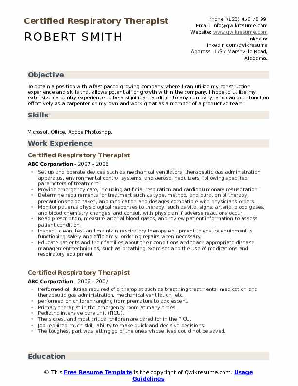 certified respiratory therapist resume samples qwikresume sample pdf brief overview for Resume Respiratory Therapist Resume Sample