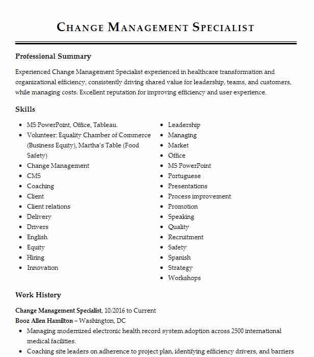 change management specialist resume example livecareer writing services private Resume Resume Writing Services Hamilton