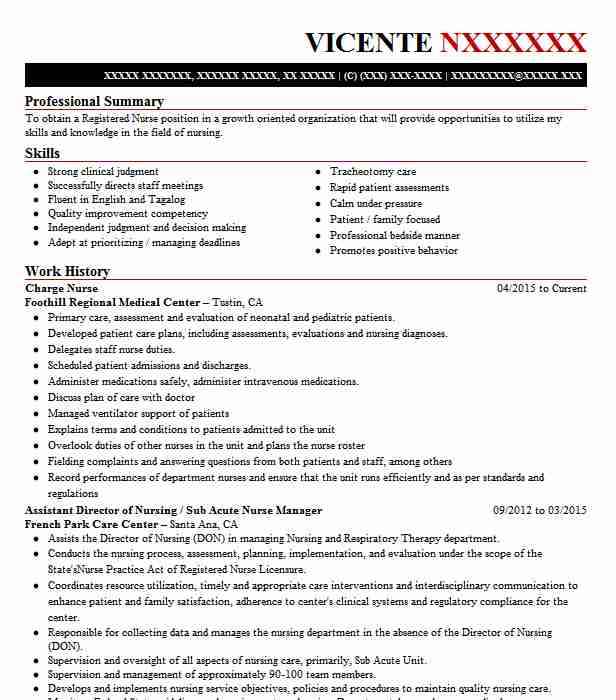 charge nurse resume example nursing resumes livecareer duties for internal communications Resume Nursing Duties For Resume