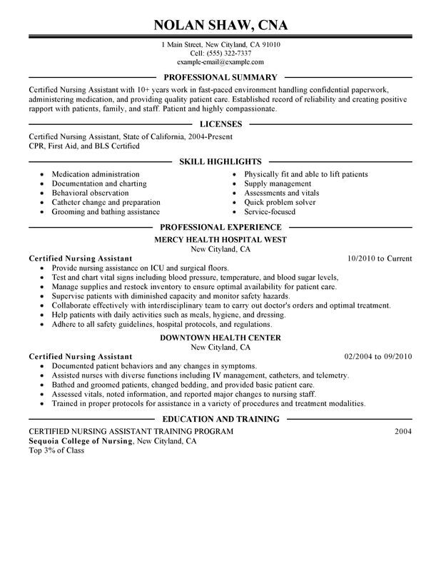 check out this nursing aide assistant resume example certified template and healthcare Resume Certified Nursing Assistant Resume Template