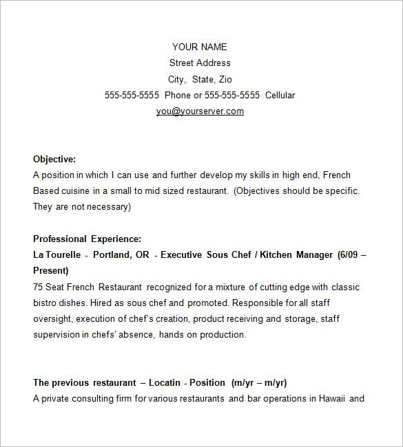 chef resume templates word pdf google docs free premium for position examples business Resume Resume For Chef Position