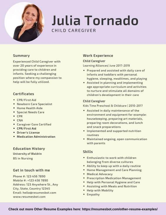 child caregiver resume samples templates pdf resumes bot in home example entry level Resume In Home Caregiver Resume