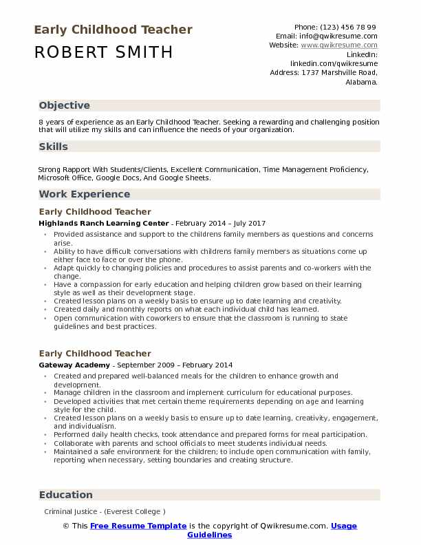 childhood teacher resume samples qwikresume education pdf core competencies for Resume Early Childhood Education Resume