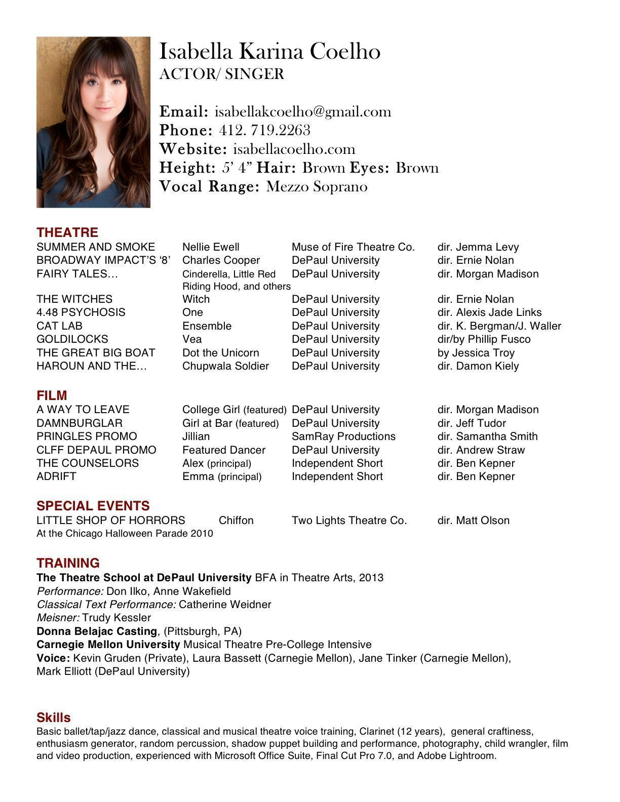children acting resume template templates resumes examples theatre performance duties of Resume Theatre Performance Resume Template