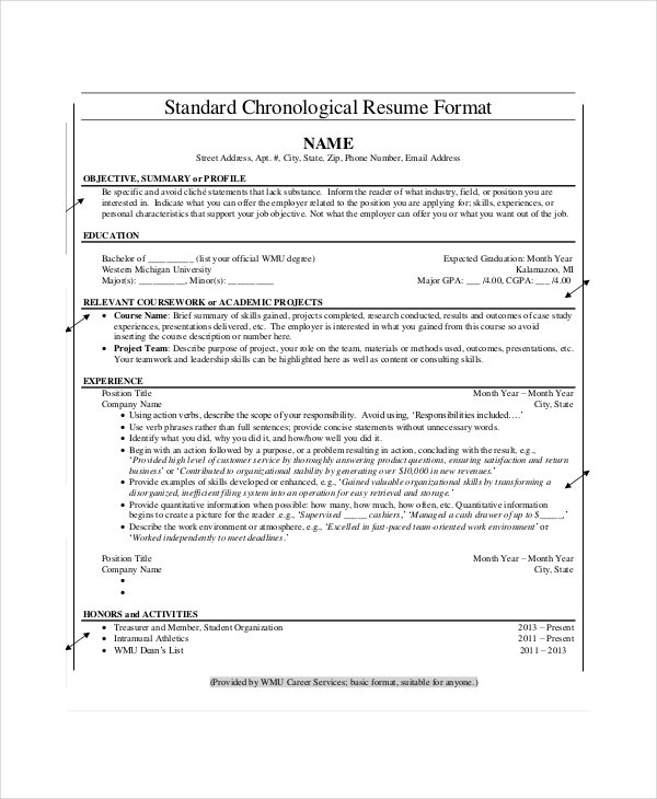 chronological resume template free samples examples format premium templates reverse Resume Reverse Chronological Resume Template Download