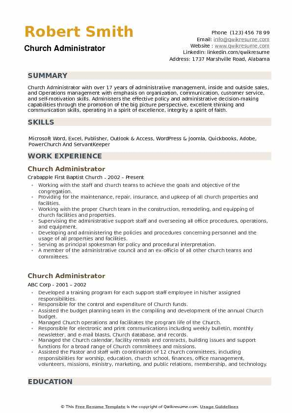church administrator resume samples qwikresume ministry examples pdf review monster Resume Ministry Resume Examples