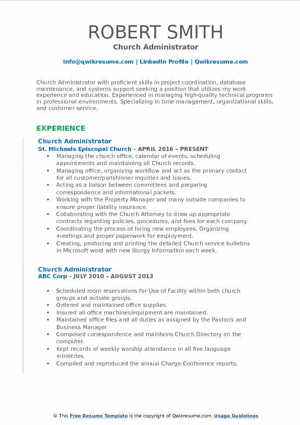 church administrator resume samples qwikresume office pdf content marketing entertainment Resume Church Office Administrator Resume