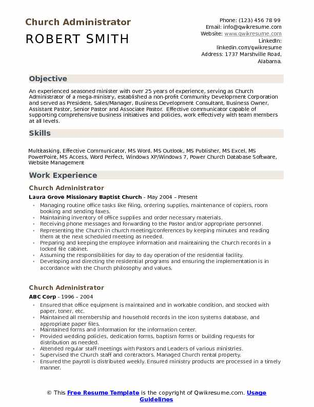 church administrator resume samples qwikresume office pdf examples call center Resume Church Office Administrator Resume