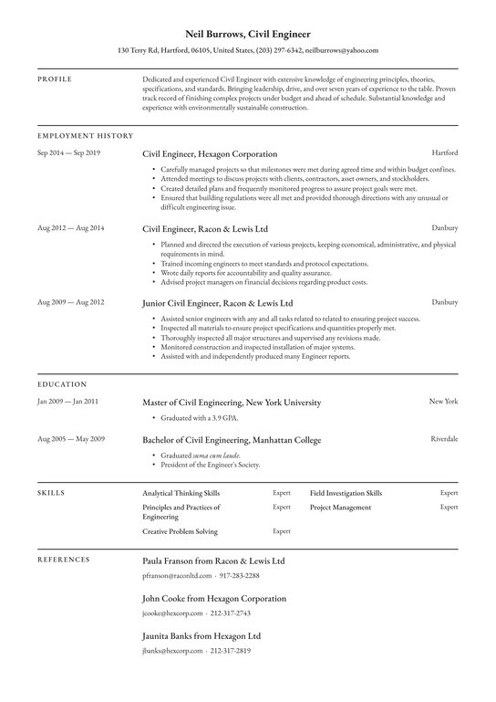civil engineer resume examples writing tips free guide engineering student entry level Resume Engineering Student Resume Examples