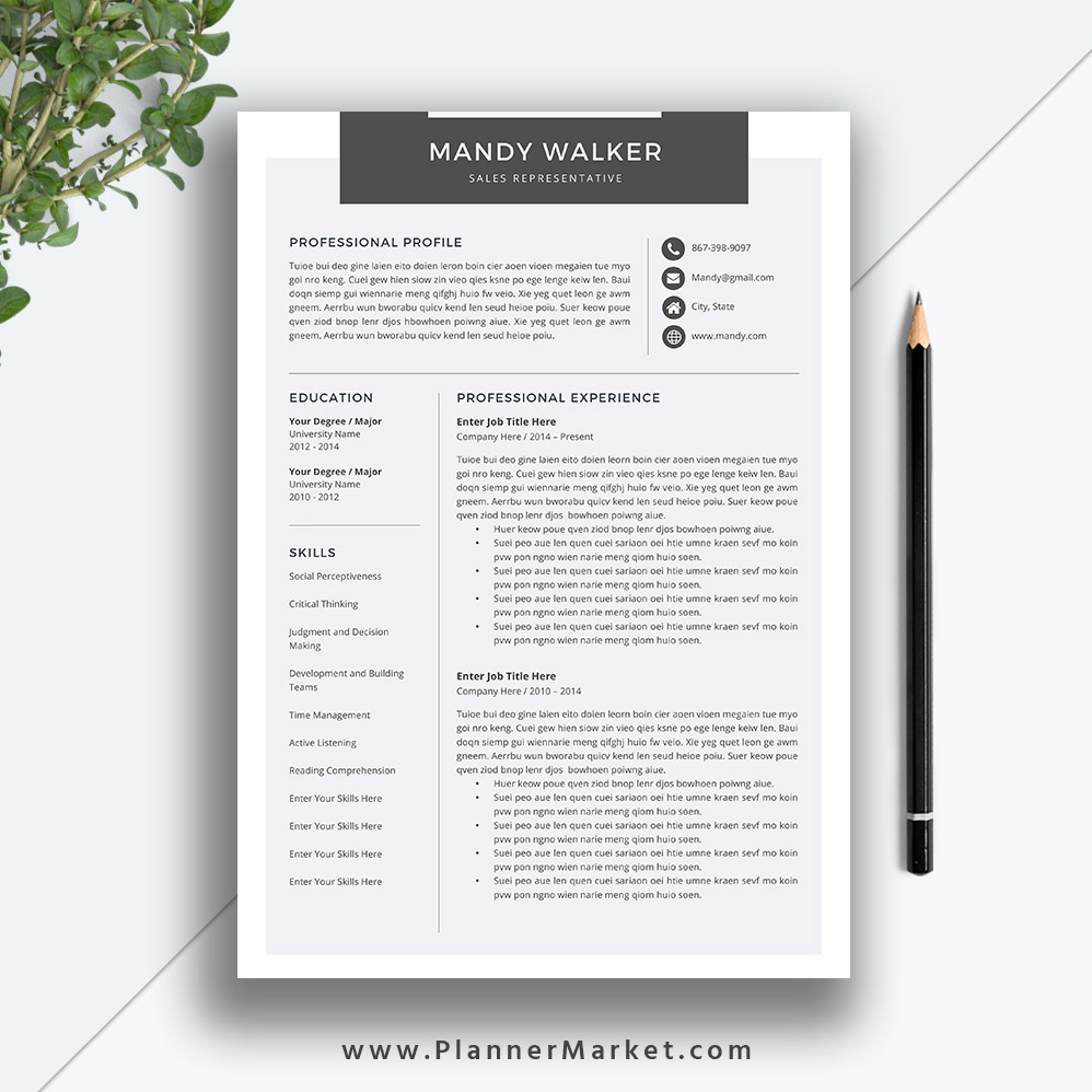 clean resume template cover letter ms word creative cv professional modern design the Resume Professional And Creative Resume Templates
