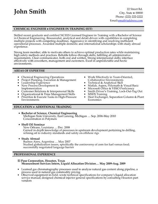 click here to this chemical engineer resume template http resumetemplat engineering Resume Chemical Engineering Resume Template