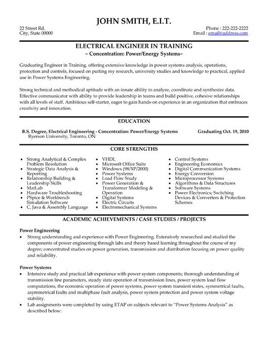 click here to this electrical engineer resume template http resumetemplates101 Resume Power Engineer Resume Sample