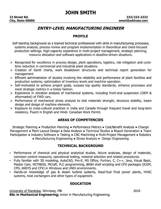 click here to this manufacturing engineer resume template http resum engineering Resume Entry Level Production Resume