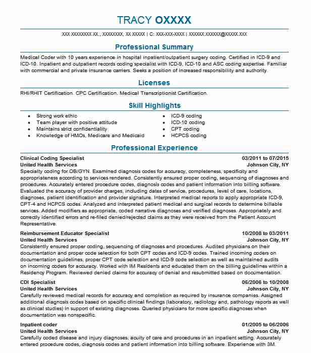 clinical coding specialist resume example livecareer medical examples professional Resume Medical Coding Resume Examples